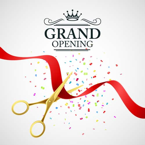 Grand opening illustration with red ribbon and gold scissors