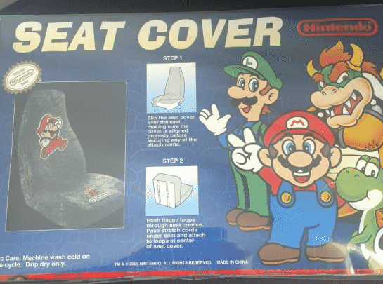 Super Mario Vintage NES Seat Car Cover Yoshi Luigi Bowser Official 2005
