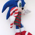 Sonic the Hedgehog Plush Stuffed Toy Christmas 2003 with Candy Cane 15 Inch 2