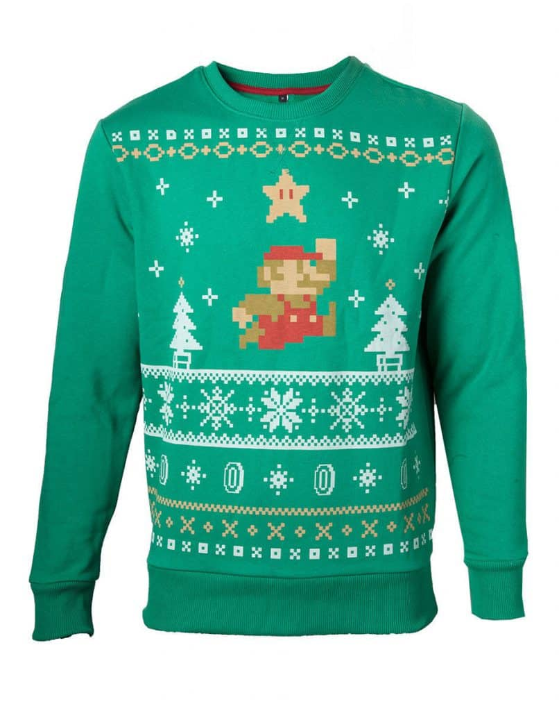 Classic Retro Mario Jumper Green Christmas Sweater