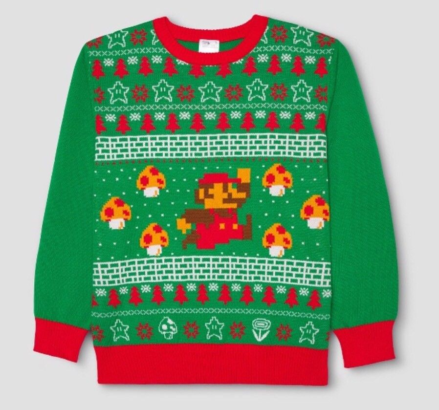 Nintendo SUPER MARIO BROS Ugly Christmas Xmas Sweater