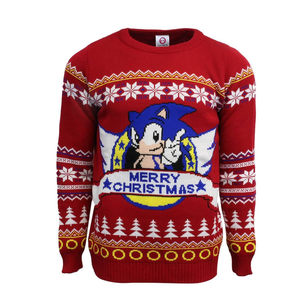 Official Classic Sonic The Hedgehog Sega Ugly Christmas Sweater