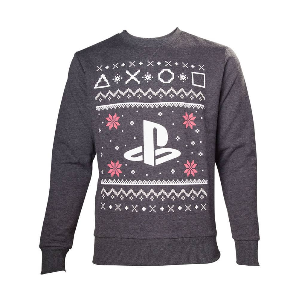 Sony PlayStation Men's Logo Christmas Jumper Large Grey