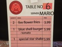 Super Mario Diner Menu from a Nintendo Switch Promo Event NES SNES Video Game
