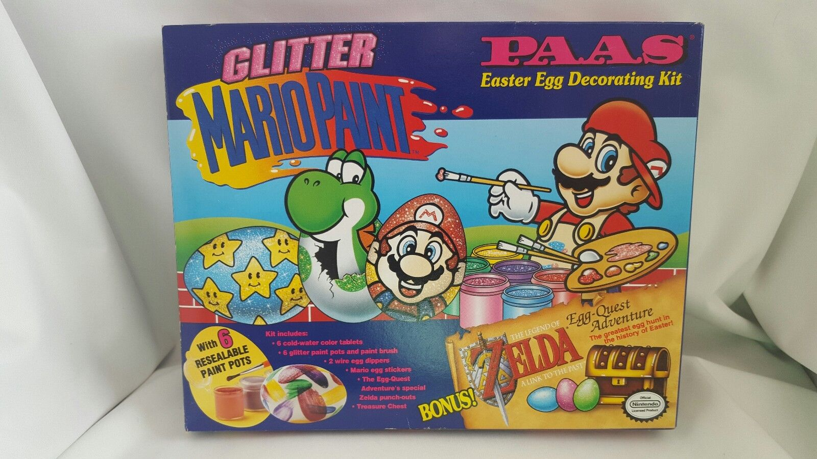 Nintendo Mario Paint Zelda Link Paas Easter Egg Decorating Kit 1993 Vintage