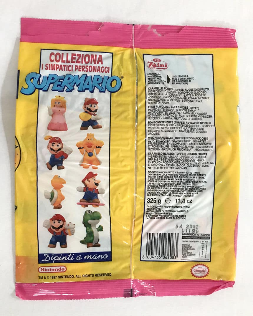 Vintage 1997 1990's Nintendo Zaini Super Mario Toffee Candy Bag Wrapper Figure 2