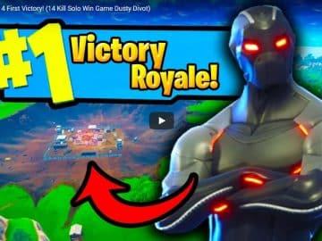 PVPNite YouTube - Fortnite Season 4 First Victory! (14 Kill Solo Win Game Dusty Divot)