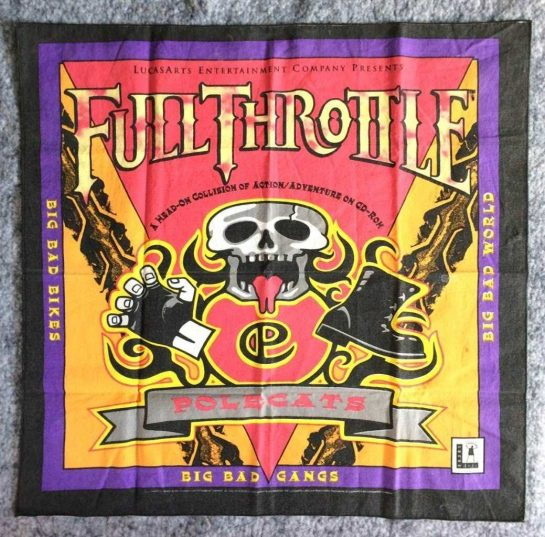 Rare Full Throttle Bandana Lucasarts PC game Bandanna 1994 Limited Edition