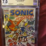 Sonic The Hedgehog comic issue # 1, scott shaw signed graded