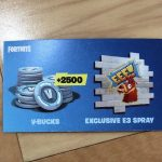 Fortnite Party Royale VIP Gift Bag 2500 V-Bucks Exclusive E3 Spray Card Epic 2