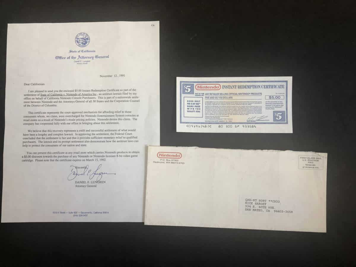 Nintendo Instant Redemption Certificate 1991 Settlement Letter Lawsuit Sued NES California Coupon