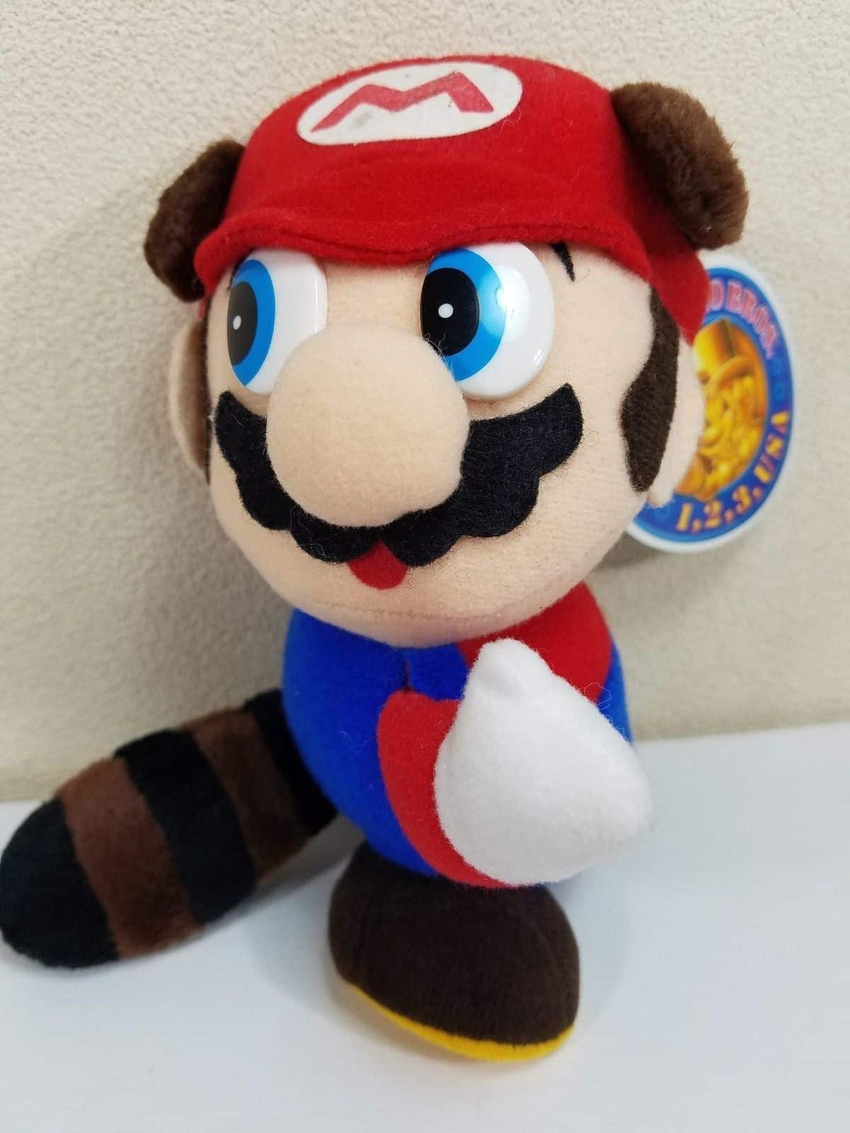 Banpresto Nintendo Super Mario Allstars Tanooki Mario Plush (1993) with Tag
