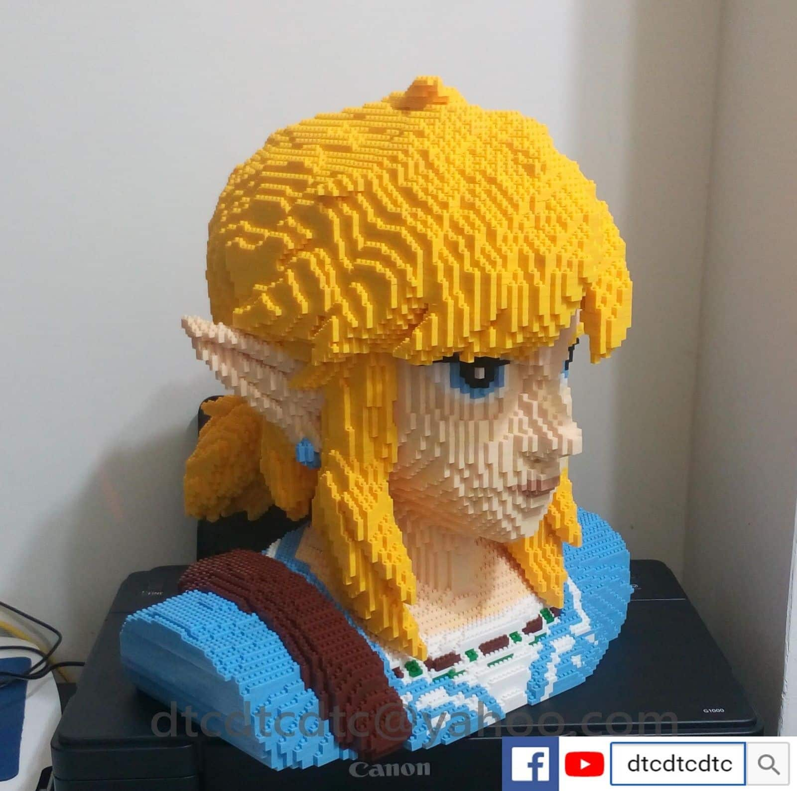 Legend of Zelda 8-bit Statue from Breath of the Wind done in LEGO Nintendo Wii Switch 3