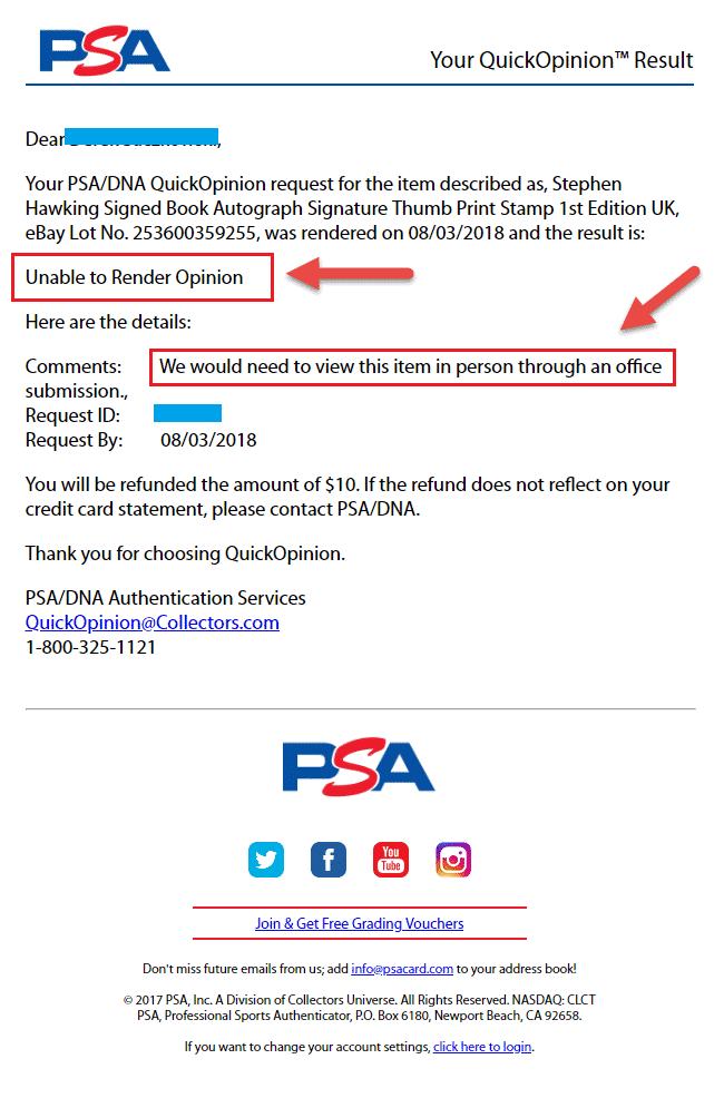 PSA DNA QuickOpinion Rendering Service Authentication Result