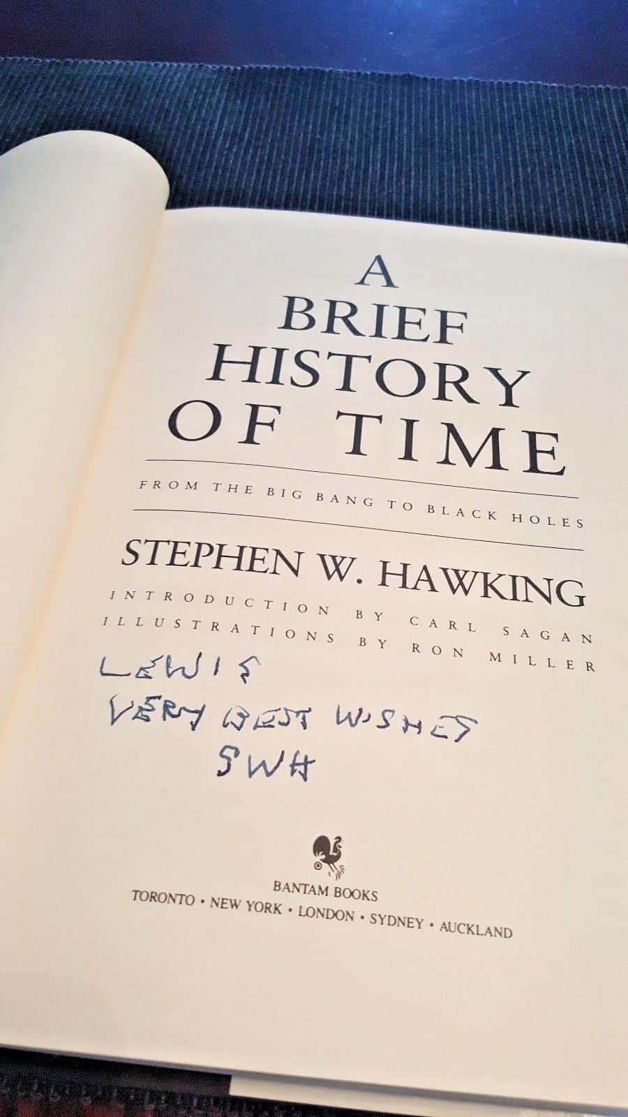 Stephen Hawking Signed Book Autograph Signature Thumb Print Stamp 1st Edition UK 4