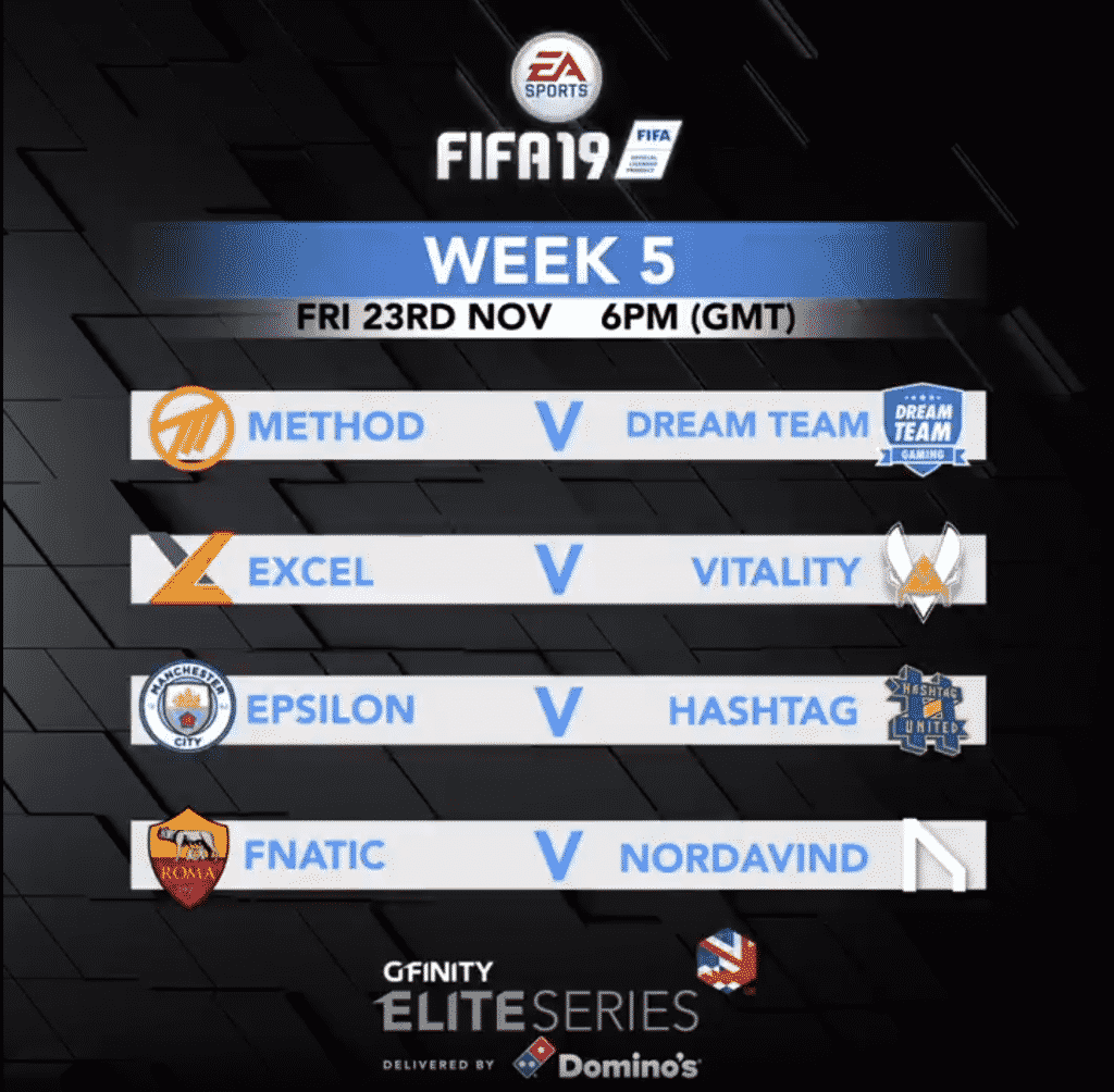 FIFA 19 Gfinity Elite Series FIFA 19 Match Up Esports Team Pro League
