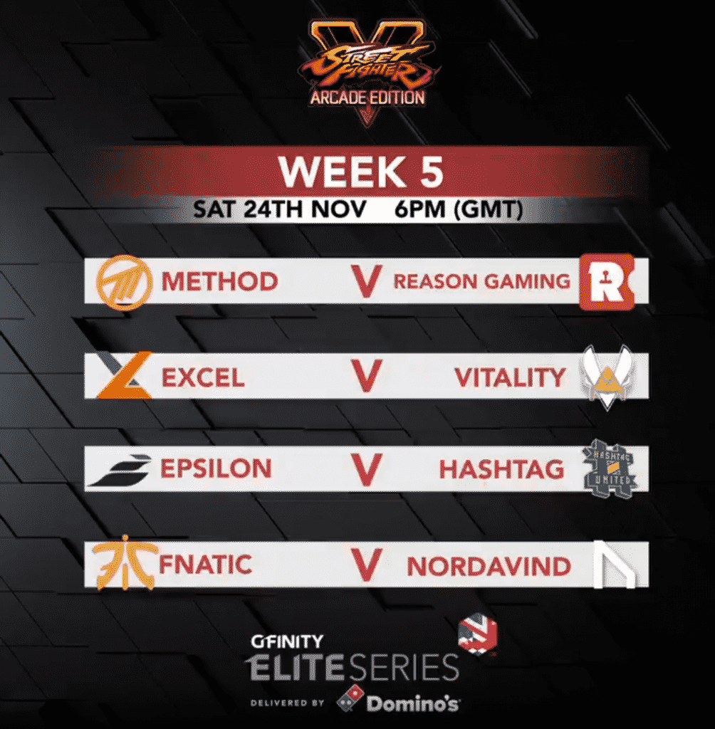 Gfinity Elite Series Street Fighter V Arcade Edition Match Up Esports Team Pro League