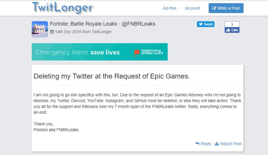 Fortnite Battle Royale Leaks @FNBRLeaks Request of Epic Games Delete Twitter