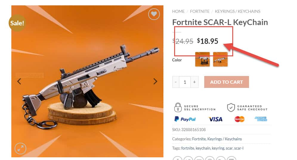 fortnite scar keychain sale