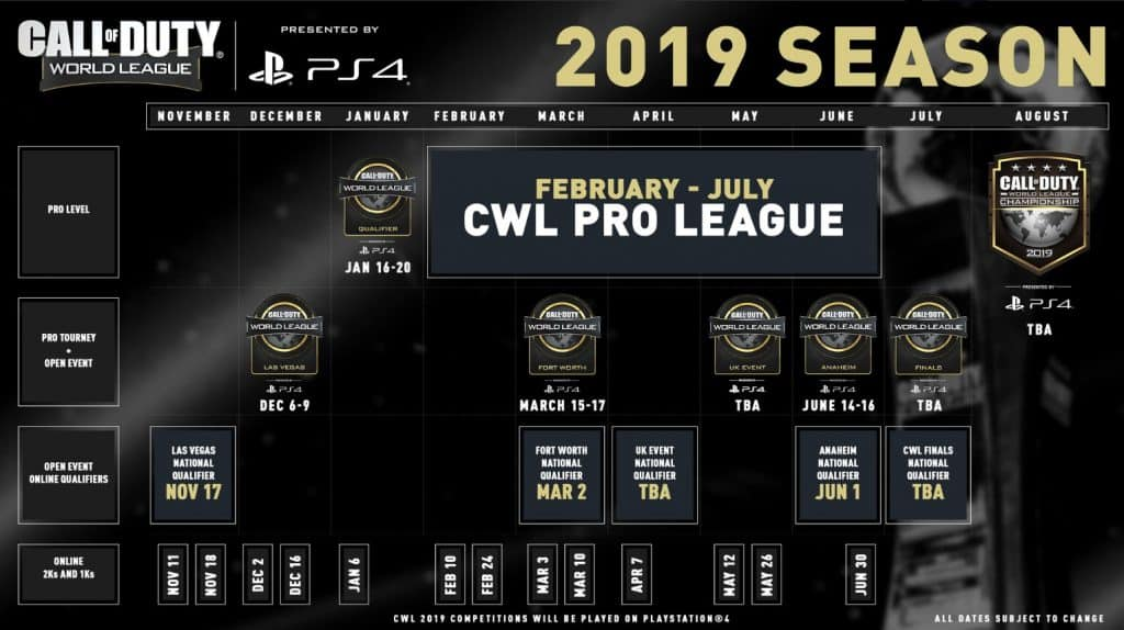 Call of Duty World League 2-19 Season Schedule Map Infographic