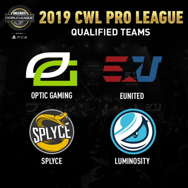 Esports Call of Duty CWL Pro League Qualified Teams