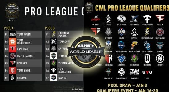 Esports Call of Duty CWL Pro League Qualifier Pools