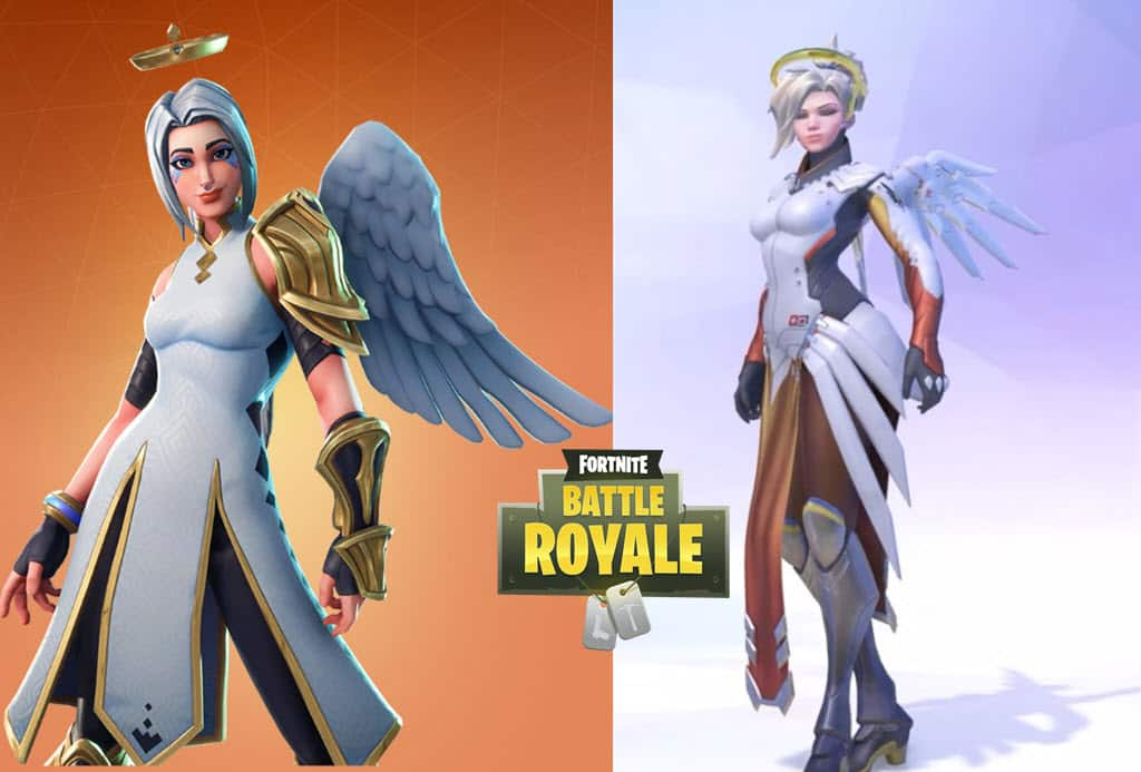 Fortnite Ark skin compared to Overwatch Mercy