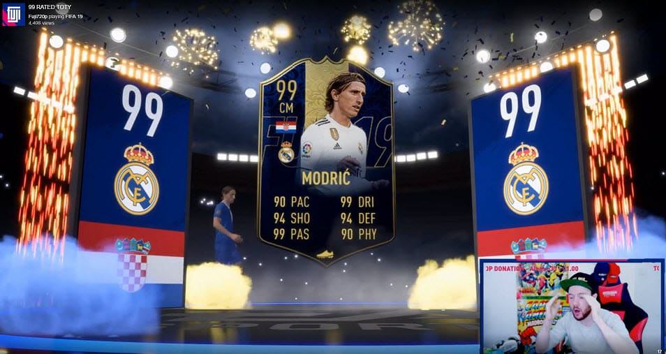 Fuji720p Unpacked Two FIFA 19 TOTY Cards Single Day Twitch Streamer Luka Modric