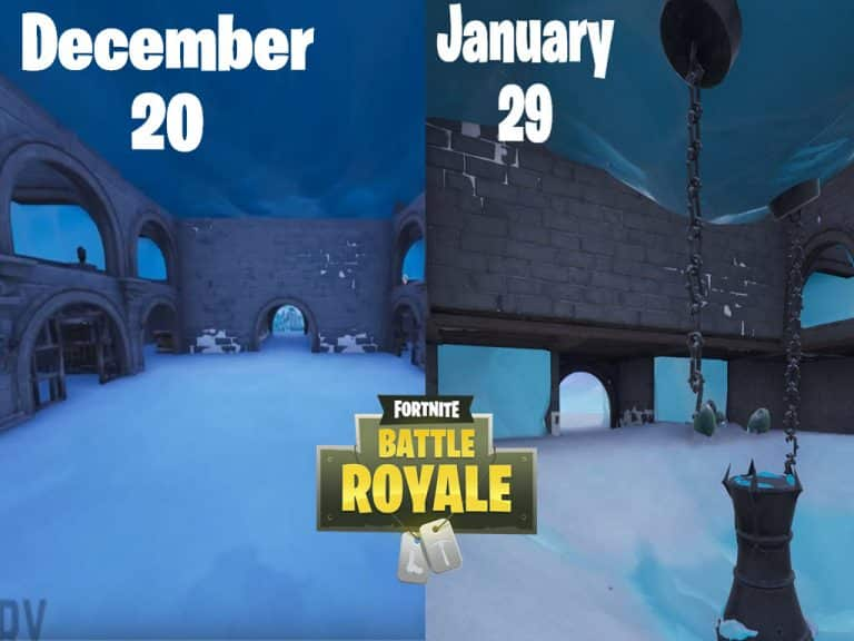 Ice castle melting in fortnite before and after