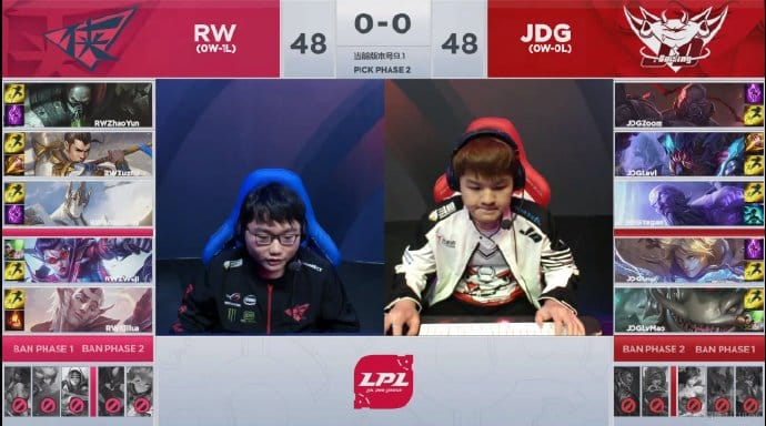 LoL Pro League LPL RW vs JDG Esports Legends