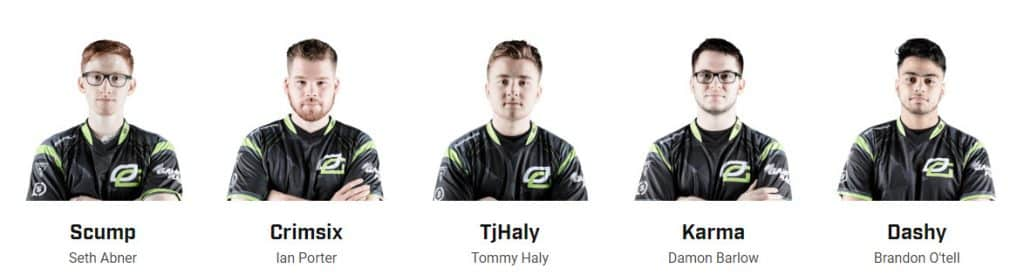 OpTic Gaming Esports Roster CWL Pro League Scump Crimsix TjHaly Karma Dashy
