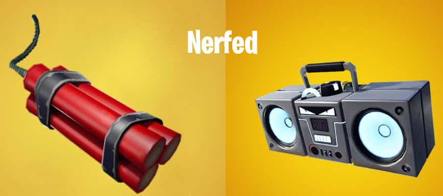 fortnite nerfed items dynamite and boombox fortnite v7-10 update 3