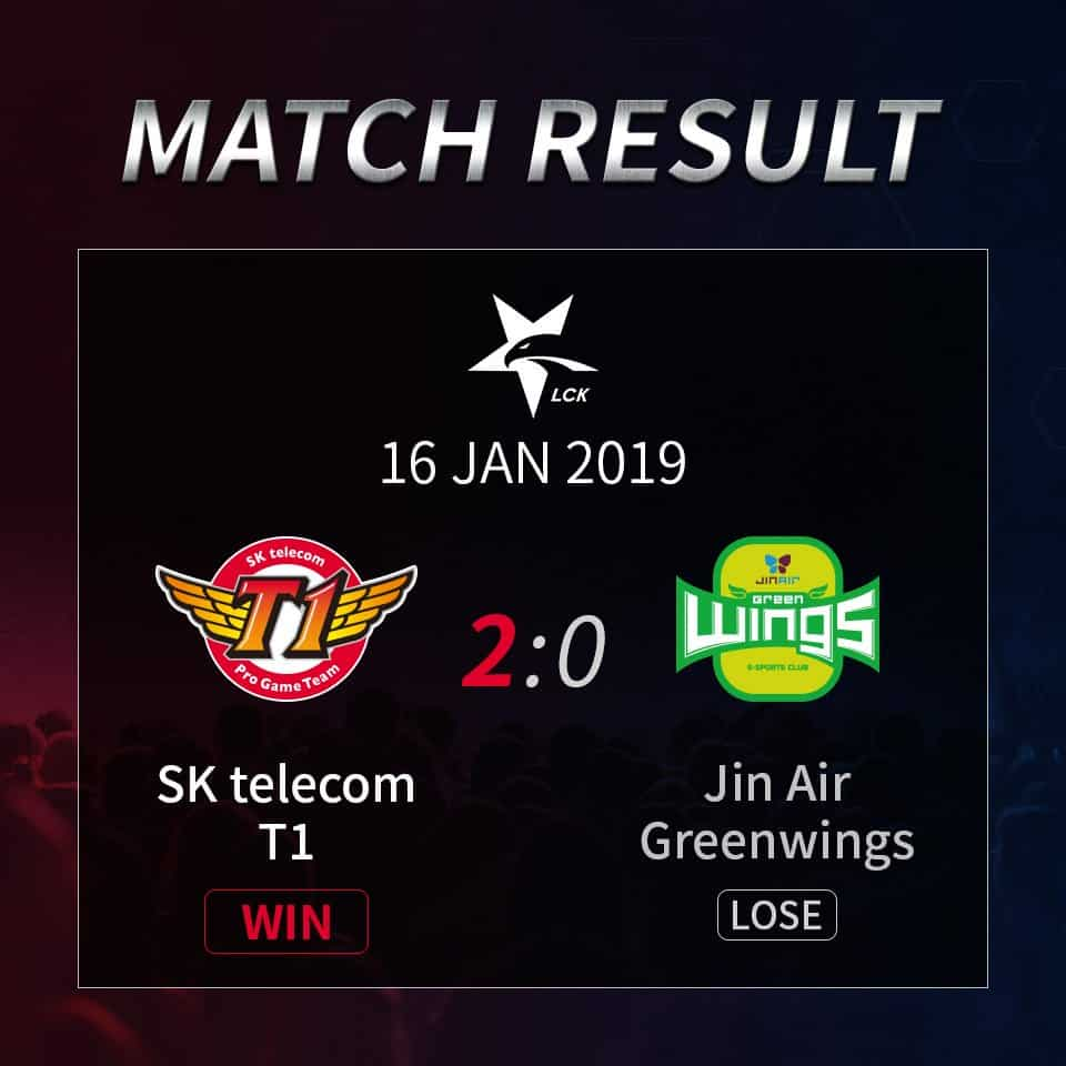 skt beats Jin Air Greenwings korea 2019