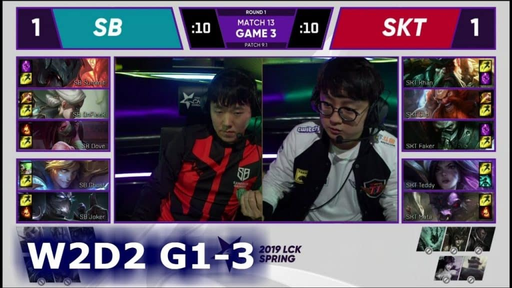 skt vs sb 2019 lck week 1 game 3