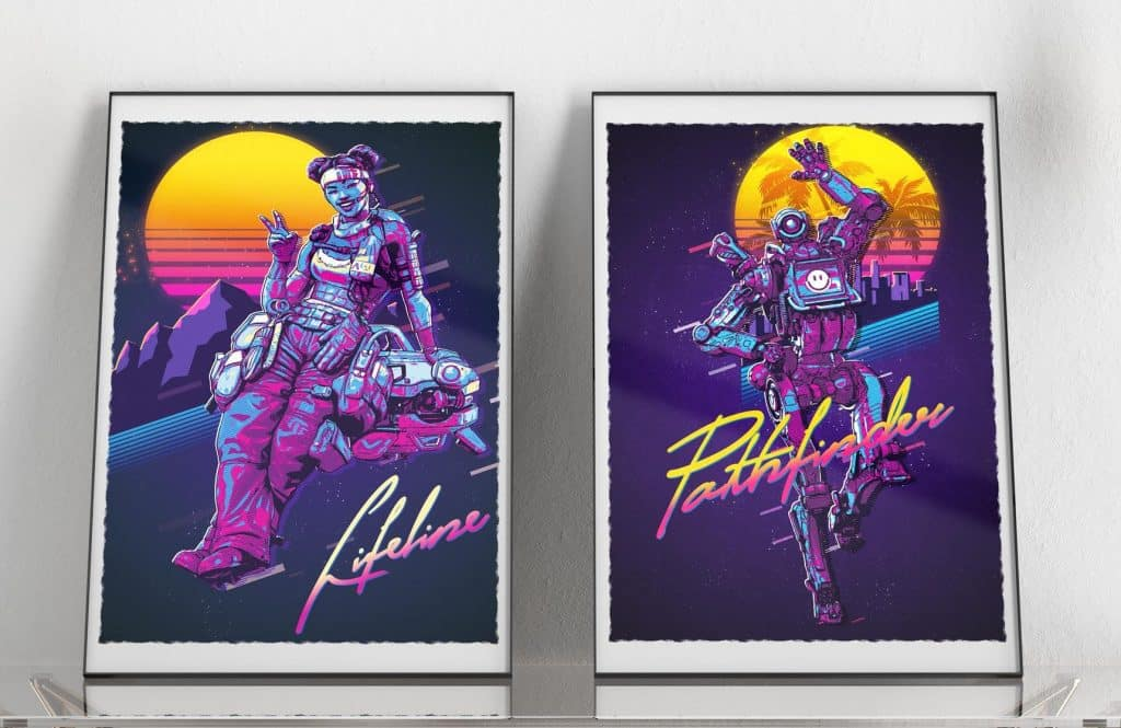 Apex Legends Art 80s Lifeline Pathfinder Retro Art Framed