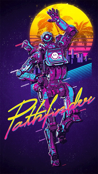 Apex Legends Art 80s Pathfinder Retro Art