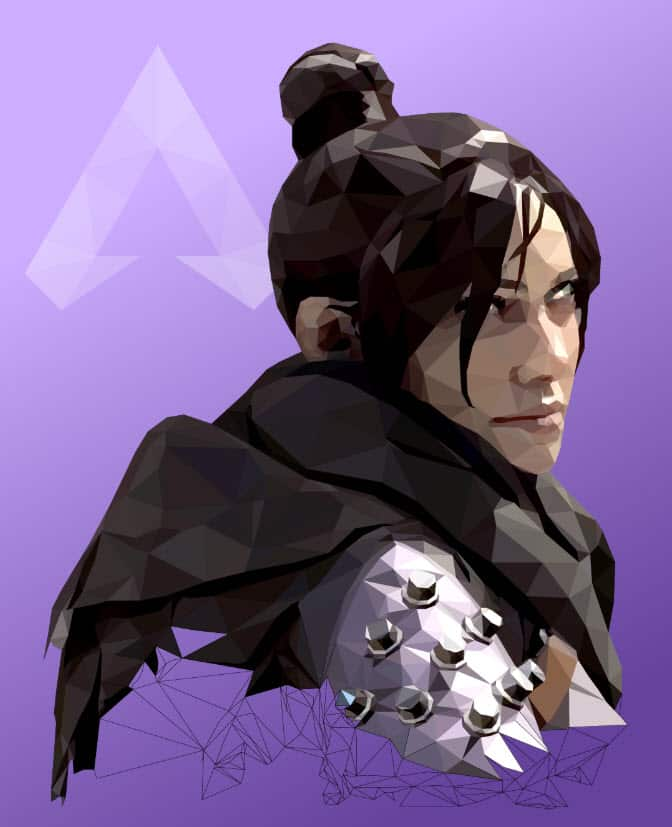 Apex Legends Art Low-poly illustration of Wraith Sketch Paint