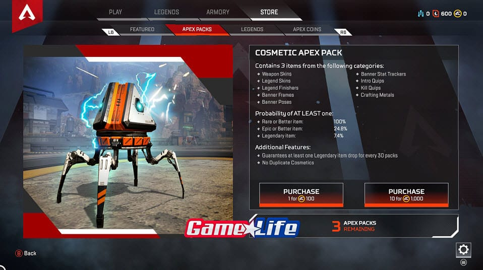 Apex Legends Cosmetic Apex Pack Loot Drones Treasure