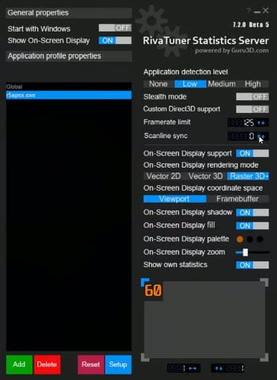Apex Legends Vsync FreeSync RivaTuner Statistics Server tool. Fix Issue
