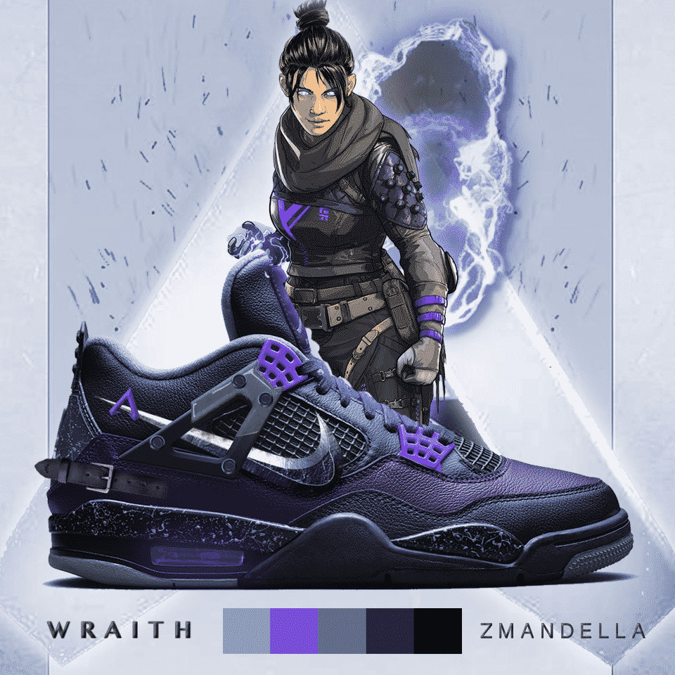 Apex Legends Art Wraith Shoe Redux Sneakers Zmandella Kicks Boots