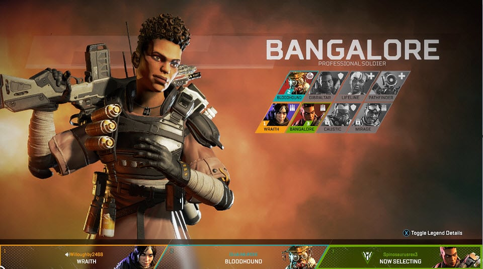 Apex legends Bangalore Professional Soldier Character Special Finisher EA Games