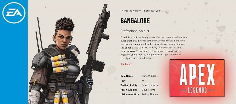 Bangalore Apex legends Professional Soldier Character Special Finisher EA Games
