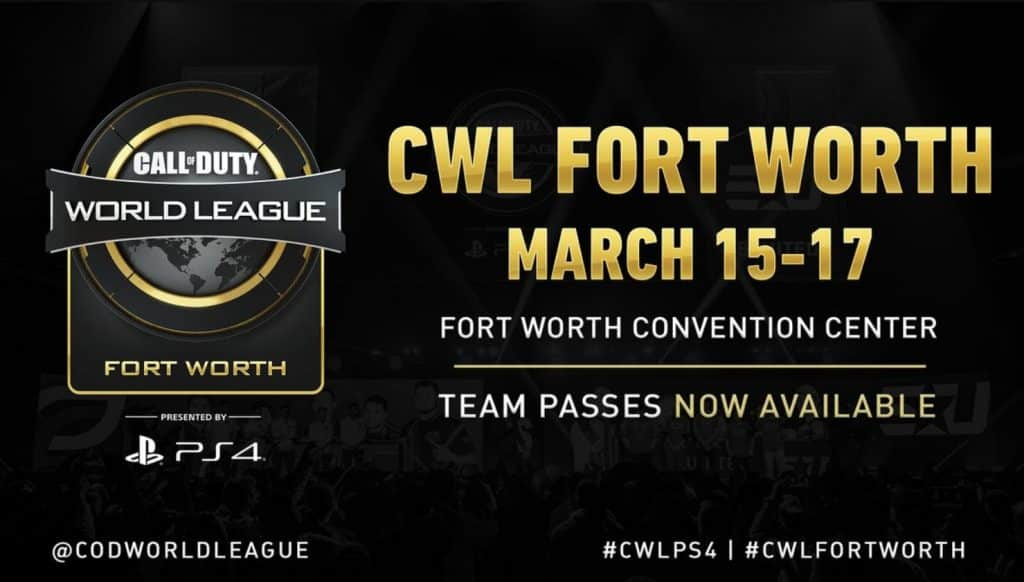 CWL Fort Worth 2019 Ticket Pass March 15 17 Team Passes Convention Center Esports