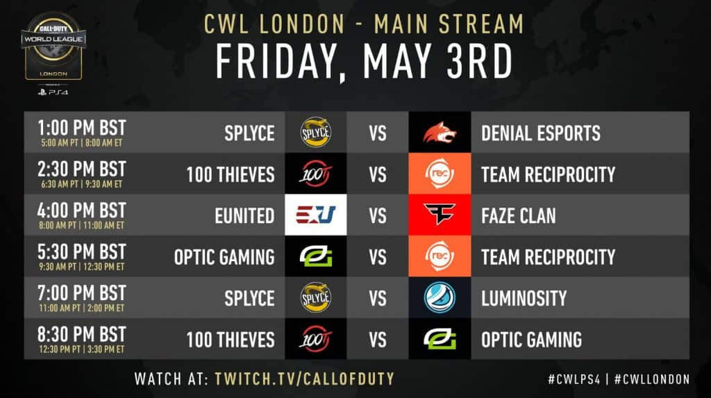 CWL London Schedule Friday May 3rd - Main Stream
