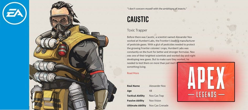Caustic Apex Legends Toxic Trapper Character Special Ultimate Finisher EA Games