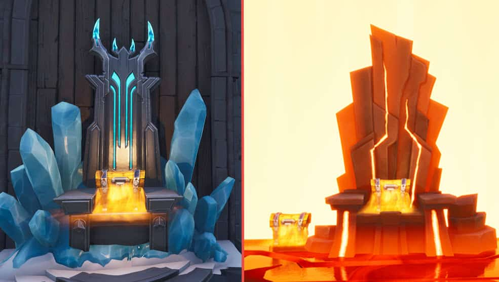 Comparing Fortnite Fire King and Ice King thrones