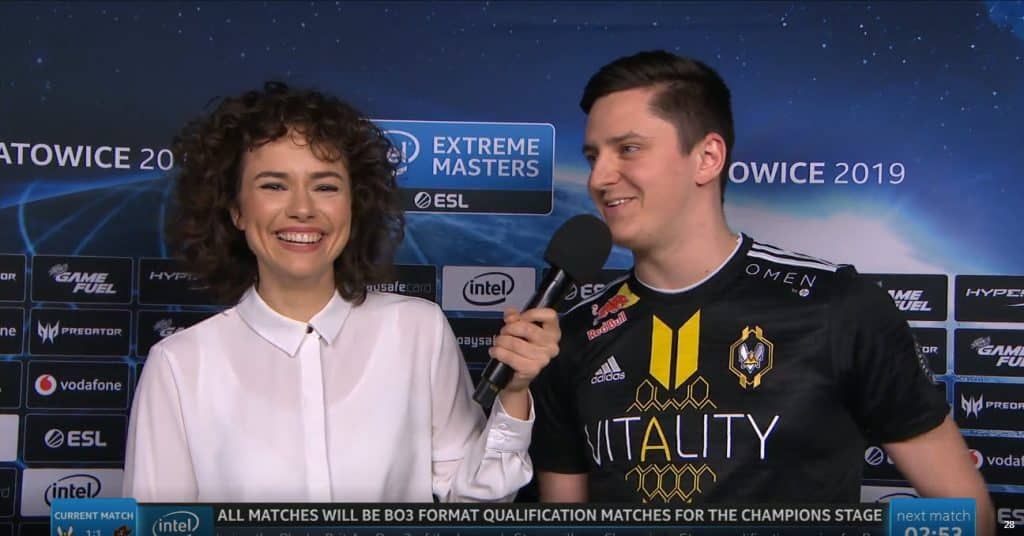 Dan Madesclaire Apex Vitality Fumbles Word at ESL Katowice Interview Esports