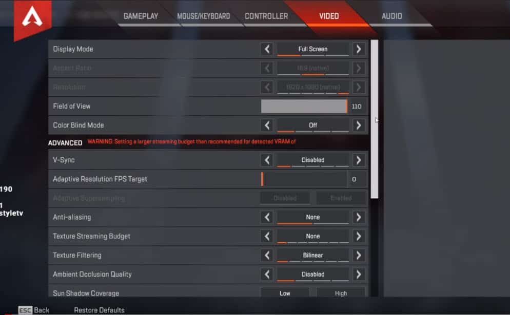 Dizzy Apex Legends Video Setting Advanced Esports Pro Player NRG