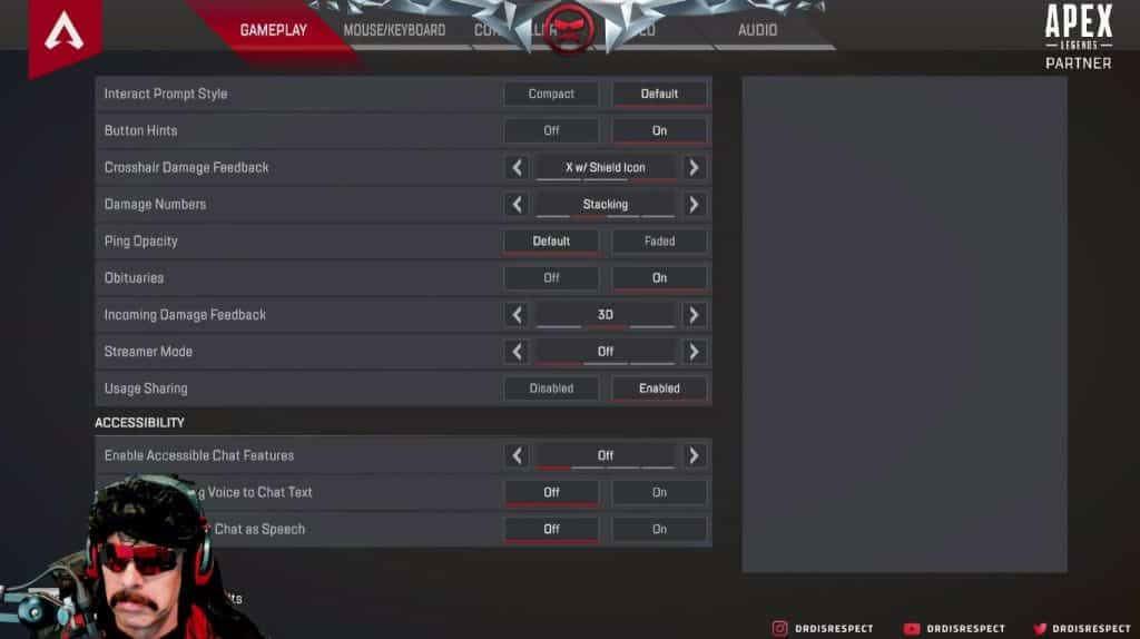 Dr Disrespect Apex Legends Gameplay Settings