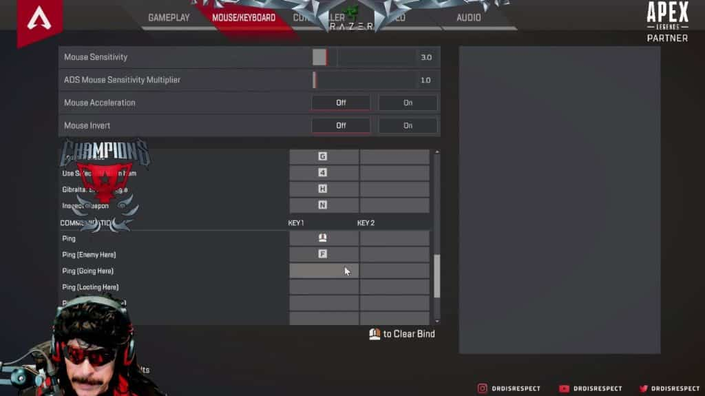 Dr Disrespect Apex Legends Keybind Settings